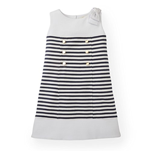 Hope & Henry Girls' Navy and White Front Button Placket Ponte Dress