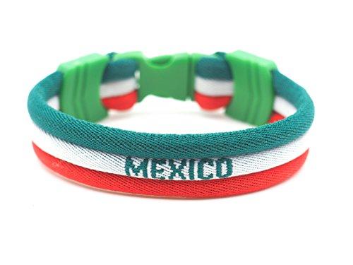 mimonos Mexico Flag Bracelet - Vivid Colors - 3 Sizes Available (Mexico, Large) -