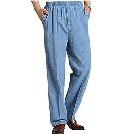Men's Seniors Solid Loose Fit Elastic Casual Pants