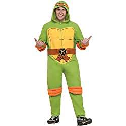 Rubie's Men's Teenage Mutant Ninja Turtles Hooded Jumpsuit, Michelangelo, X-Large