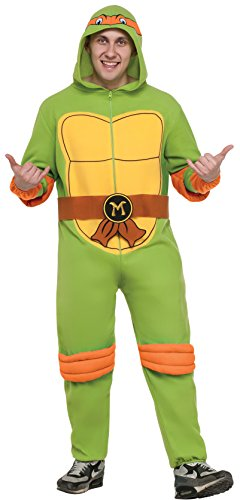 Ninja Turtle Onesie Costume (Rubie's Costume Co Men's Teenage Mutant Ninja Turtles Hooded Jumpsuit, Michelangelo, Standard)