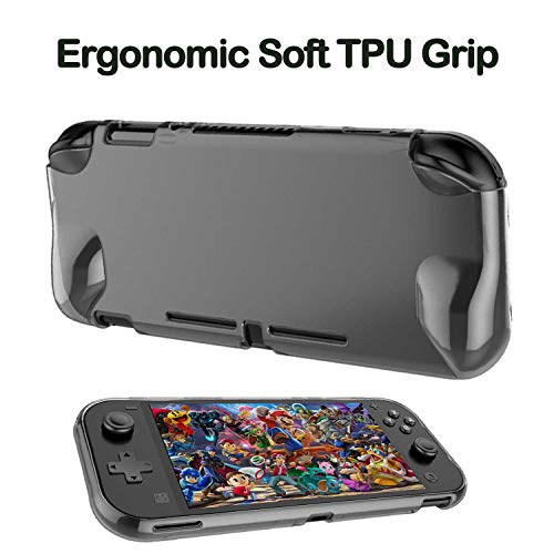 Accessories Kit for Nintendo Switch Lite - YOOWA Accessories Bundle with Carrying Case, Protective Cover case, 2-Pack Tempered Glass Screen Protector, Adjustable Play Stand, 6 Thumb Grips
