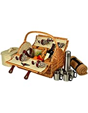 Picnic at Ascot Yorkshire Willow Picnic Basket with Service for 4