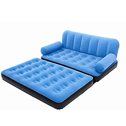 Bestway 5 in 1 Velvet Air Sofa Cum Bed Inflatable TwinBlue Amazon