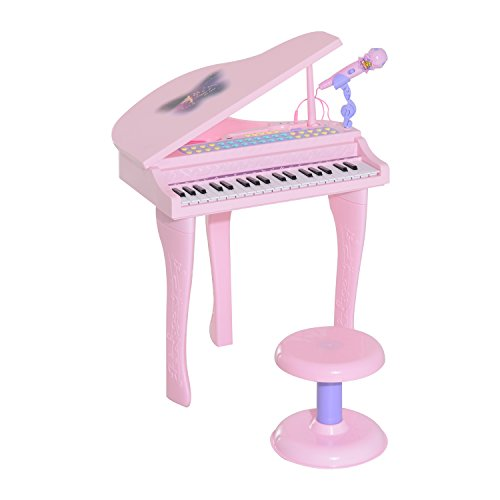 Qaba 37 Key Kids Baby Grand Digital Piano with Microphone and Stool - Pink - Microphone Real