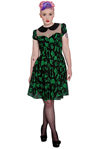 Hell Bunny Rockabilly Psycho 50s Retro Tattoo Vintage Anatomy Dress (M) (50s Tattoos)