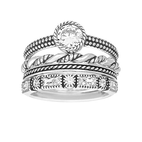 WILLOWBIRD Multi-Pack Cubic Zirconia Stackable Eternity Ring for Women Set in Oxidized 925 Sterling Silver (Large Round Size 7)