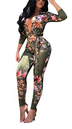 Dreamparis Women's Sexy Floral Deep V Neck Long Sleeve Bodycon Long Pants Jumpsuits Rompers,Green,Small by Dreamparis