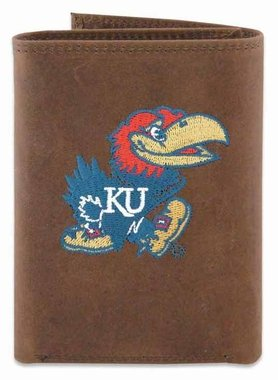 ZEP-PRO NCAA Kansas Jayhawks Men's Crazy Horse Leather Trifold Embroidered Wallet, Light Brown, One Size