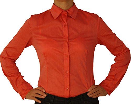 5259 Blouse corps de la femme, manches longues, effilées, couleur unie, saumon rouge, S/38!