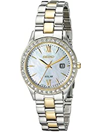 Womens SUT074 Dress Two-Tone Stainless Steel Swarovski Crystal-Accented Solar Watch