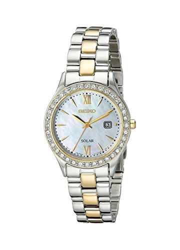 (Seiko Women's SUT074 Dress Two-Tone Stainless Steel Swarovski Crystal-Accented Solar Watch)