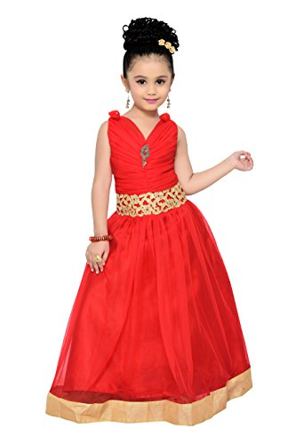 (ADIVA Girl's Indian Party Wear Gown for Kids (G-1771-RED-32))