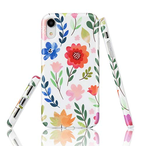 EUNSOUL iPhone XR Case, Matte Colorful Flower Design Slim Thin Soft Flexible Silicone Phone Case Cover with TPU Protective Bumper for iPhone XR - Protective Case Colorful
