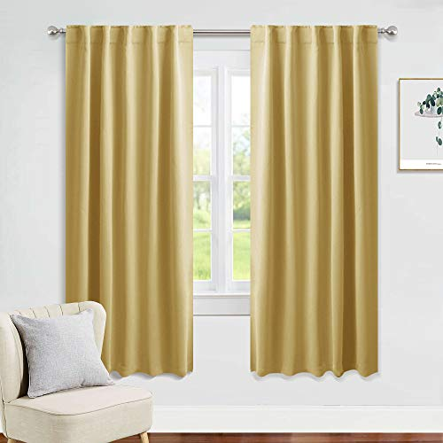 (PONY DANCE Window Curtains Set - Home Decoration Energy Saving Thermal Insulated Blackout Curtains/Window Coverings with Rod Pocket Living Room, 42 W x 63 - inches L, Misted Yellow, 2 Panels)