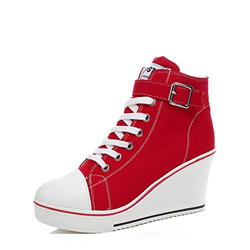 Rojo 38 Ladies blanco Top Negro De Primavera 35 Casual otoño 43 color Tamaño High Para rosa Mujer Size rojo Comfort Canvas Sneakers Botines Zapatos Large Bq6SCw6