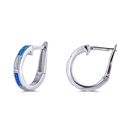 - 18mm Hoop Huggies Earrings Greek Key Created Blue Opal 925 Sterling Silver