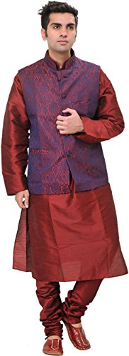 Exotic India Tibetan-Red Three Piece Wedding Kurta Paja Size 42 by Exotic India