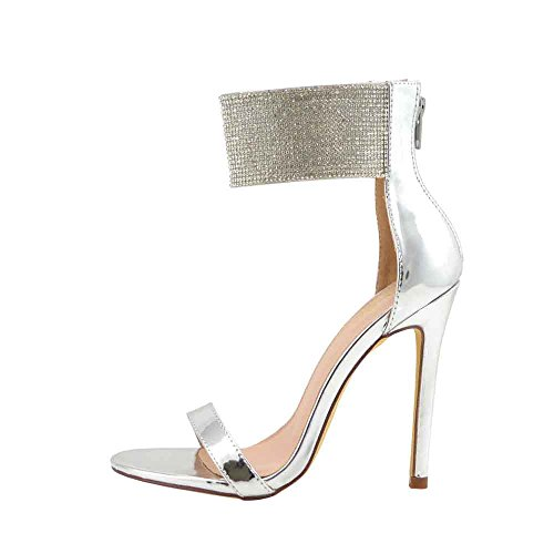 Sculpted Heel Platform Sandal (Women's Dress Sandal | Round Open Toe | Rhinestone Covered Ankle Cuff | Stiletto Heel Sandals (7, Silver))