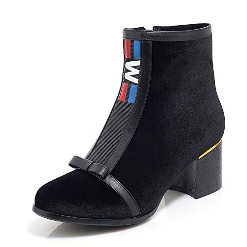 Black US8.5   EU39   UK6.5   CN40 Black US8.5   EU39   UK6.5   CN40 Women's Bootie Suede PU Fall & Winter Vintage Boots Chunky Heel Round Toe Booties Ankle Boots Bowknot Black color Block