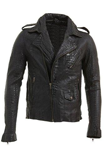 Nappa Leather Biker Jacket - Slim Fit Men's Retro Black Real Leather Brando Croc Motorcycle Biker Jacket L