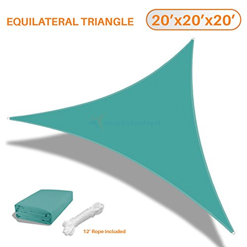 TANG Sunshades Depot 20 x20 x20 Equilateral Triangle Waterproof Terylene Knitted Shade Sail Curved Edge Turquoise Green 220 GSM UV Block Shade Fabric Pergola Carport Awning Canopy Replacement Awning
