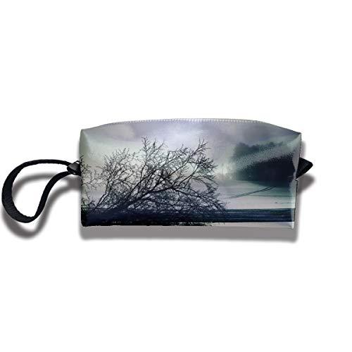 Kla Ju Portable Pencil Bag Cosmetic Pouch Tree Nature Moon Stationery Purse Storage Organizer]()