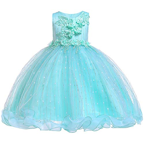 Tutu Dresses for Girls Ruffles 5 Years Old Ball Gown Sleeveless Floral Girl Dress Size 6 Light Green Graduation Holiday Dress for Kids Knee Length Cute Tulle Girls Dress Size 5 Fancy (Green 130) - Dresses Cute Holiday