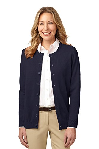 Port Authority Women's Value Jewel Neck Cardigan Sweater XL Navy