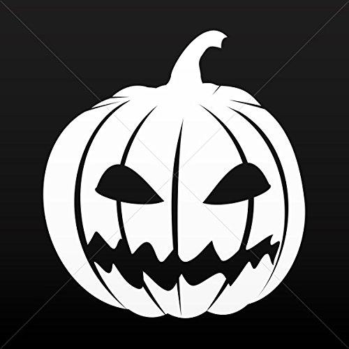 Decals Decal Scary Jack O Lantern Halloween Pumpkin Motorbik White (14 X 12.7 Inches)]()