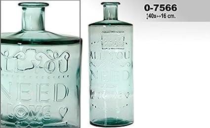 DRW DonRegaloWeb - Jarrón de Cristal con Forma de Botella Decorado con Palabras en Color Transparente