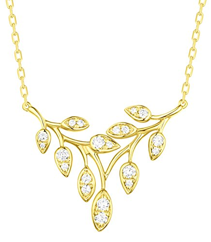 Prism Jewel 0.25 Carat G-H/I1 Natural Diamond Olive leaf Delicate Chain Necklace, 14k Yellow Gold ()