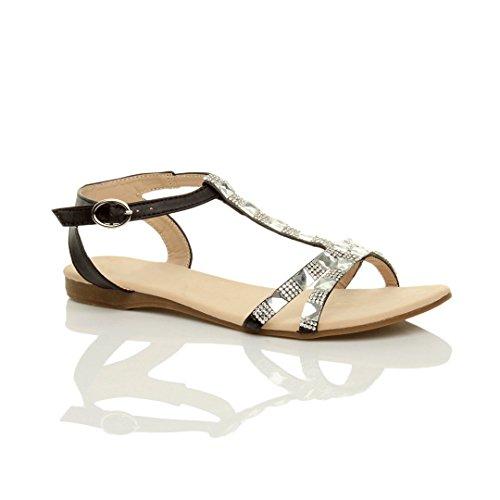 Summer Ajvani Size Women T Flat Sandals Bar Diamante Black nwa7gUq