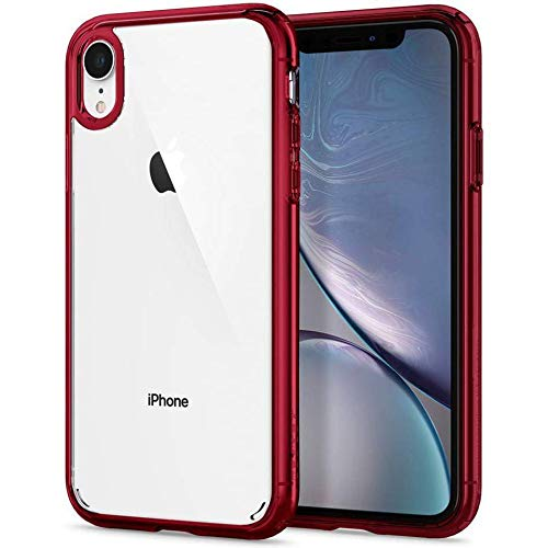 Spigen Ultra Hybrid iPhone XR Case 6.1 inch with Air Cushion Technology and Clear Hybrid Drop Protection for iPhone XR (2018) - Red