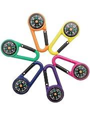 Qiajie 6 stuks outdoor klimmen kompas karabijnhaken zelfremmende karabijnhaak clip voor reizen wandelen (willekeurige kleuren)