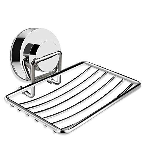 Suction Soap Dish, ChoiHope Strong Stainless Steel Shower Soap Dish for...