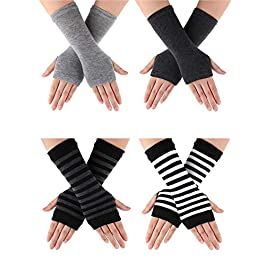 4 Pairs Cashmere Feel Wrist Fingerless Gloves with Thumb Hole Unisex Cashmere Warm Gloves (Color Set 1)