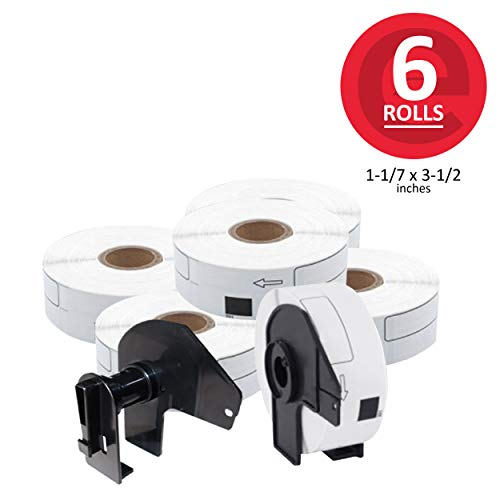 enKo - Compatible for Brother DK-1201 (1.1 inch x 3.5 inch) Address Barcode Replacement Labels - 6 Rolls + 2 Refillable Cartridges