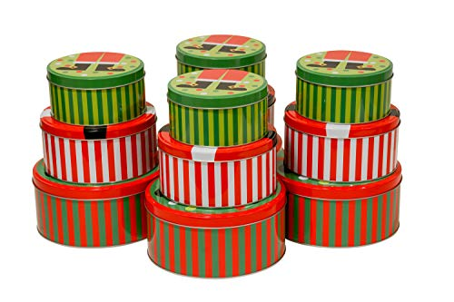 Christmas Nesting Gift Tins with Lids Set of 12 Round Empty Metal Tin Decorative Box Cans in 3 Assorted Sizes of Small, Medium and Large for Holiday Party Gift Giving & Decor
