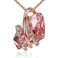 Wish Stone Pendant Necklace Made Swarovski Crystals Birthstone Jewelry Gifts Women, Rose Gold...