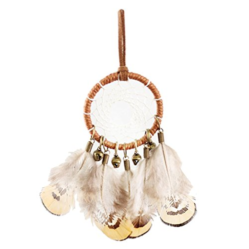 MonkeyJack Indian Style Handmade Feather Dream Catcher Necklace Sweet Dream for Home Wall Car Hanging Decoration