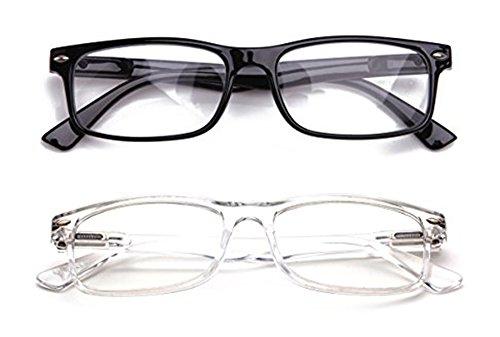 Newbee Fashion - Unisex Translucent Simple Design No Logo Clear Lens Glasses Squared Fashion ()
