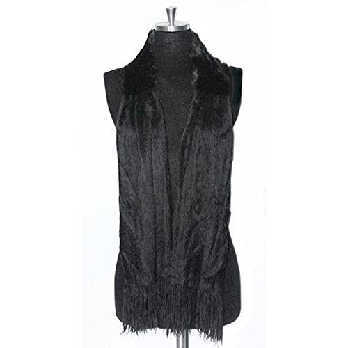 Angora Scarf - Luxurious & Elegant Angora/Rabbit Fur Knit Neck Wrap Boa Scarf Shawl -- Black