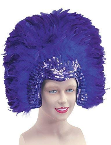 (Ladies 1920s Flapper Showgirl Drag Queen Vegas Cabaret Sequinned Large Feather Headdress Fancy Dress Costume Outfit Accessory)