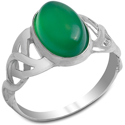 Green Agate Sterling Silver Celtic Oval Ring,Green,5