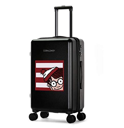 SfHx ファッショントロリーケースユニバーサルホイール漫画スーツケースかわいいプリントギフトスーツケース (Color : ブラック, Size : L) L ブラック B07MQ9VW8W