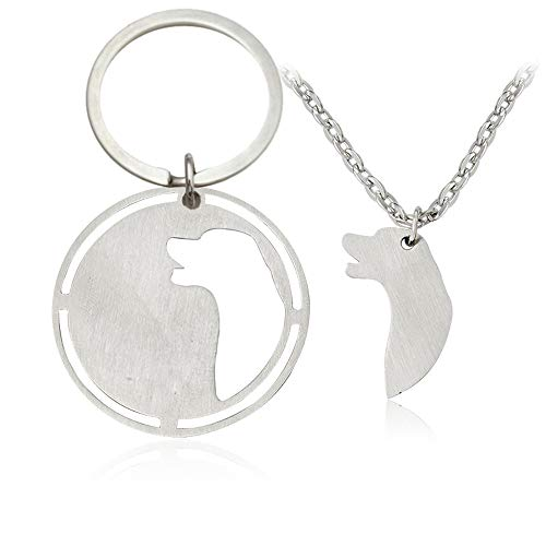(ZUOPIPI Dog Head Sculpture Necklace and Keychain Couple Jewrly for Pets and Owners Gift for Dog Lovers (Style 2))