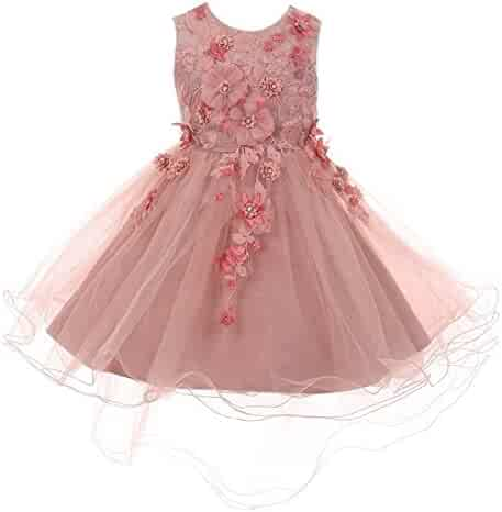 5c45bac2f Cinderella Couture Little Girls Dusty Rose 3D Floral Appliques Hi-Low Tulle  Flower Girl Dress