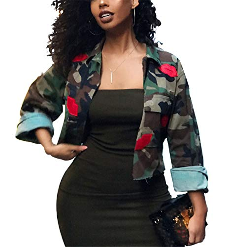 Antique Style Women's Oversized Street Fashion Slim Fit Military Camo Lips Printed Lightweight Outwear Coat Camouflage Short Jacket Safari Jacket Party Club Dress Green S