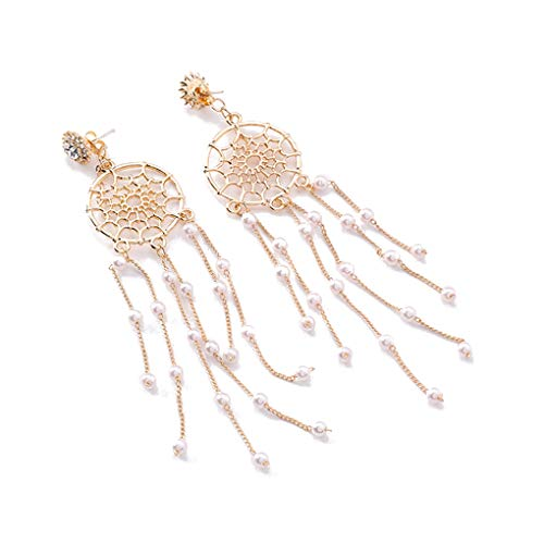 daindyzzq 1 Pair Lovely Girl Dream Catcher Dangle Earrings Women Exaggerated Long Pearl Tassel Party Vintage Ear Studs